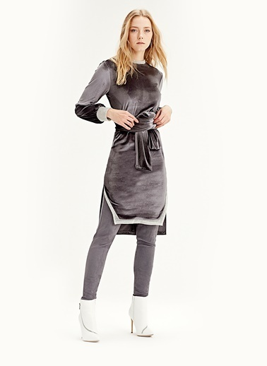 Mizalle Kadife Elbise Tunik  Gri